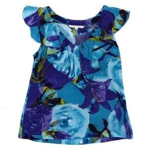 Trina Turk Blue & Purple Floral Print Silk Top S